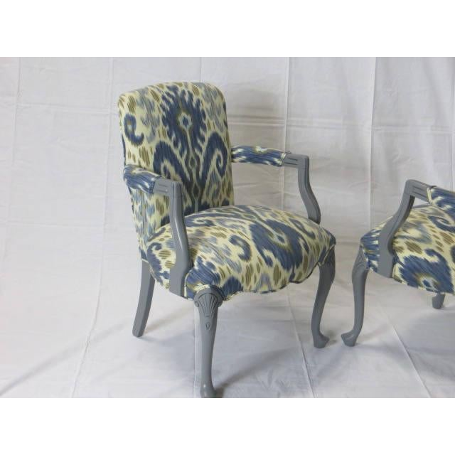 Fabric Gray Lacquered Cabriole Leg Chairs Reupholstered in Kravet - A Pair For Sale - Image 7 of 11