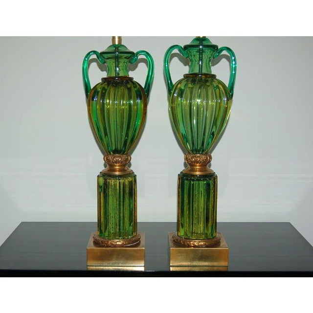 Hollywood Regency Marbro Murano Glass Table Lamps Green For Sale - Image 3 of 10