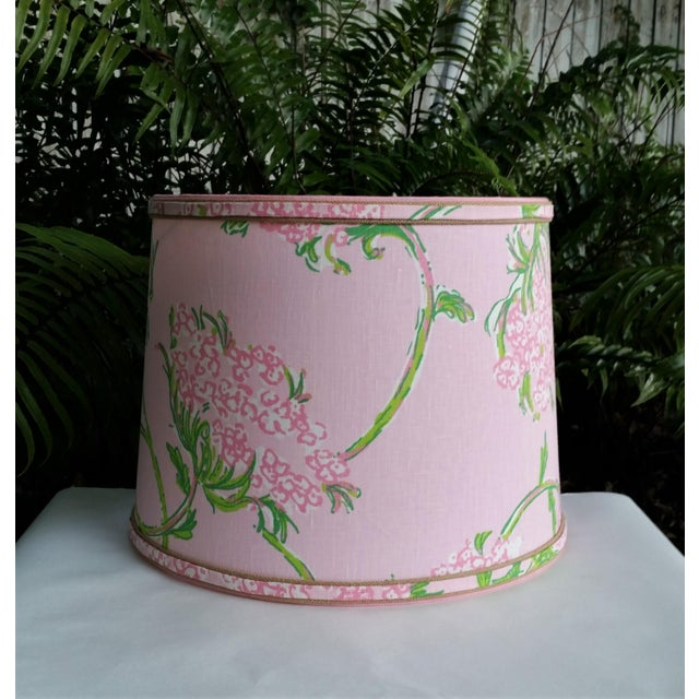 Large Lampshade Lilly Pulitzer Fabric Floral Pink For Sale - Image 11 of 11