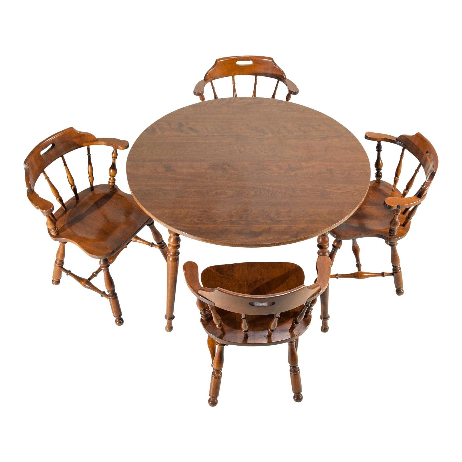 Ethan Allen Heirloom Nutmeg Maple Dining Table & Chairs