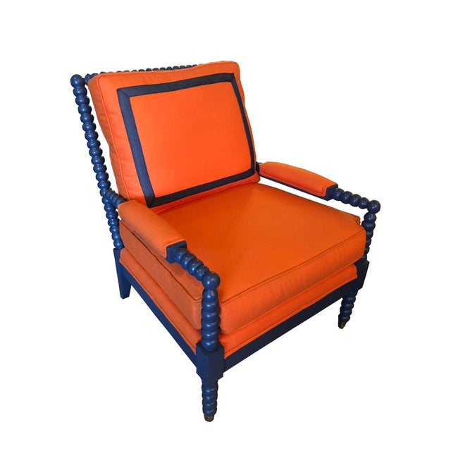 Modern C. R. Laine Tangerine Felt Spool Chair For Sale In Cleveland - Image 6 of 6