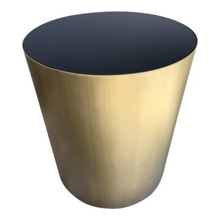 Brass and Black Glass Round Side Table For Sale