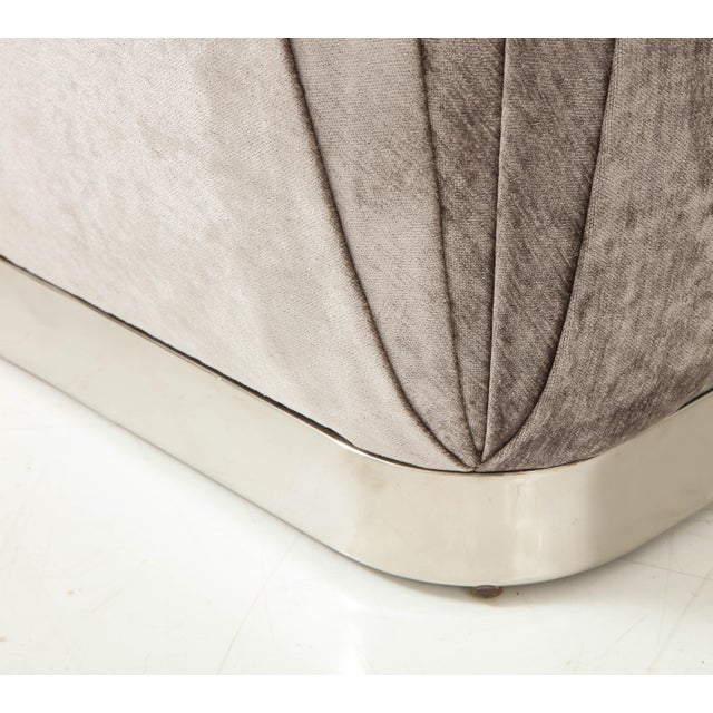 Gray Souffle Ottomans or Poufs by Karl Springer - a Pair For Sale - Image 8 of 10