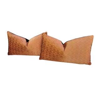 Gold Velvet Herringbone Pillows - a Pair For Sale