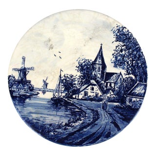 Vintage Cobalt Blue & White Delft Trivet For Sale