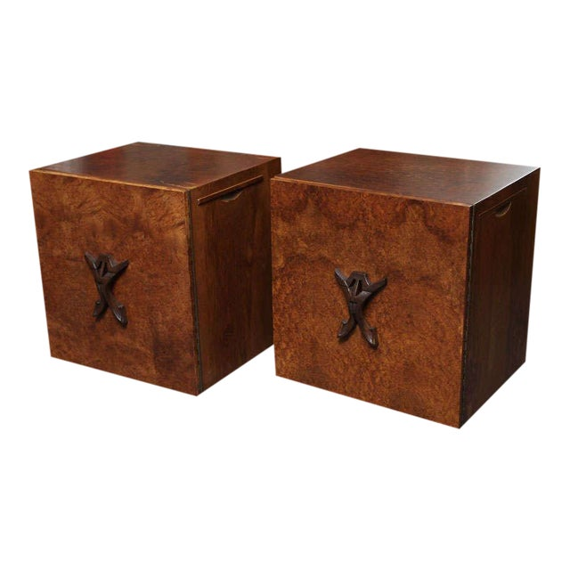 Romweber Mid Century Modern Night Stands in Exotic Burl Late 1940s, Set of Two. - Image 11 of 11