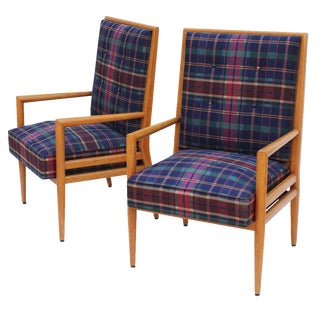 T.H. Robsjohn-Gibbings Style Tufted Armchairs - A Pair For Sale