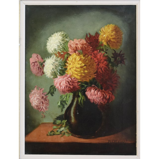 Traditional M E Wright Chrysanthemum in Vase Framed Floral Oil Painting For Sale - Image 3 of 10
