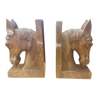 Vintage Carved Wood Horsehead Bookends - a Pair For Sale