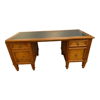Louis XVI Embossed Leather Top Partner Desk For Sale