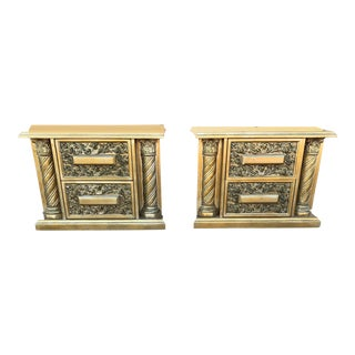 Hollywood Regency Custom Made Gold/Blue Wooden Nightstands - a Pair