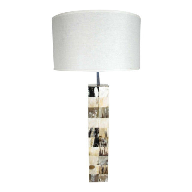 Mosaic Genuine Horn Table Lamp For Sale