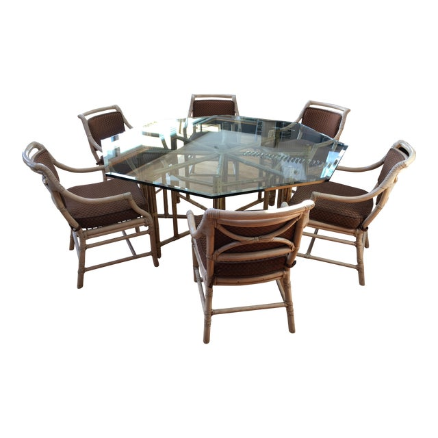 McGuire Reeded Bamboo Octagonal Dining Set For Sale