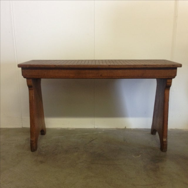 Antique Belgian Wood Bench For Sale - Image 7 of 7