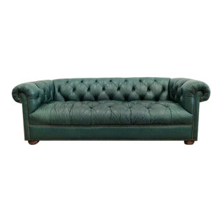 1980s Vintage Classic Green Tufted Chesterfield Sofa For Sale