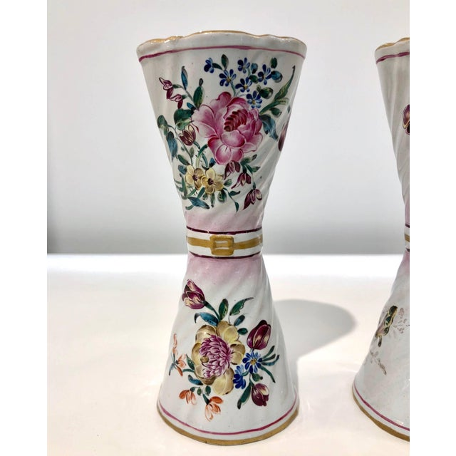 1870s St. Clement French Faience Majolica White Pink Flower Vases - a Pair For Sale - Image 4 of 13