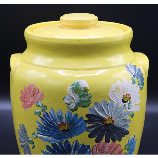 Ceramic Vintage Yellow Hand Painted Floral Pottery Jar For Sale - Image 7 of 13