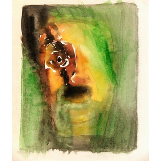 Tesson, Abstract Watercolor - the Scream Green Figure For Sale