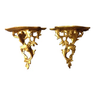 Antique Italian Gold Wall Sconces / Shelves - A Pair