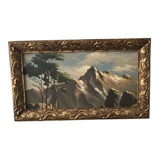 Mid-Century Landscape Painting in Vintage Gilt Frame by Number For Sale