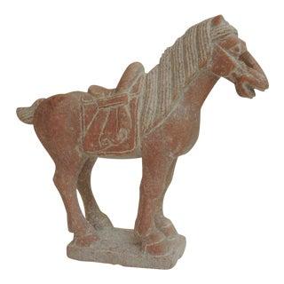 Large Vintage Asian Hand-Carved Horse Marble Sculpture