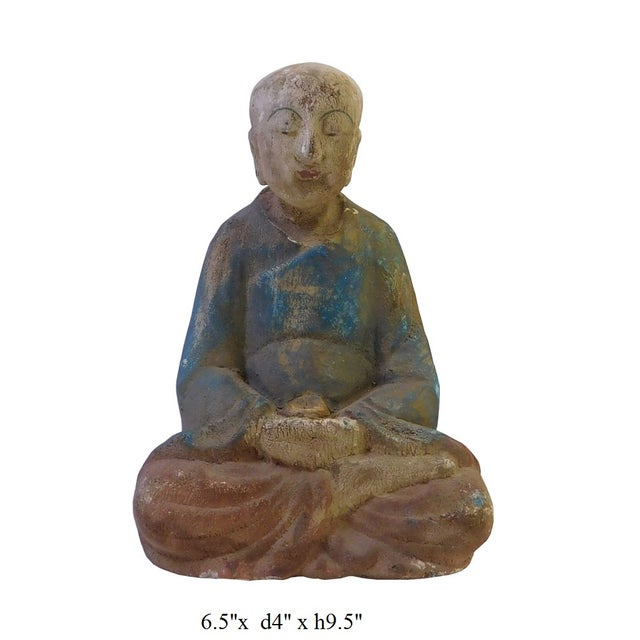 Chinese Rustic Wood Sitting Monk Statue - Image 5 of 5