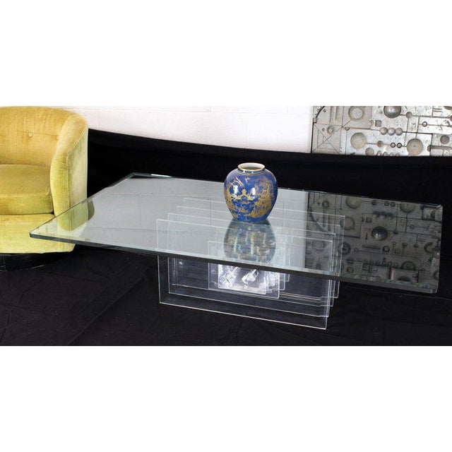 Glass Large Rectangular Glass Top Thick Stack Lucite Blades Base Coffee Table For Sale - Image 7 of 12
