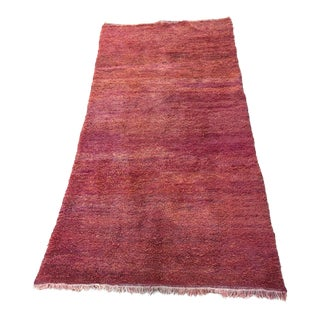 "Moroccan Red Shaggy High Pile Wool Tribal Rug ""Bed of Red Roses"" For Sale"