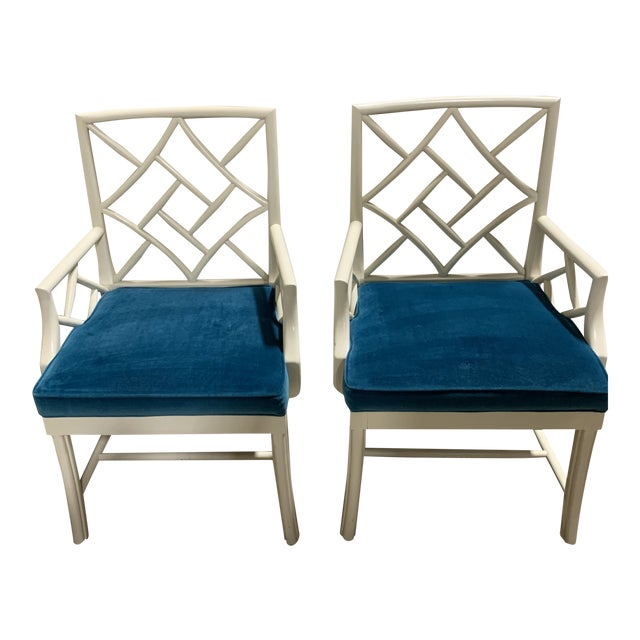 Hickory Chair Fretwork Chippendale Arm Chairs-A Pair For Sale