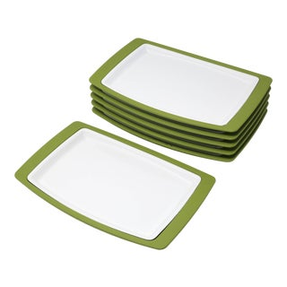 Vintage MCM Thermo-Serv Enameled Metal Plates With Avocado Green Trays - Set of 6 For Sale