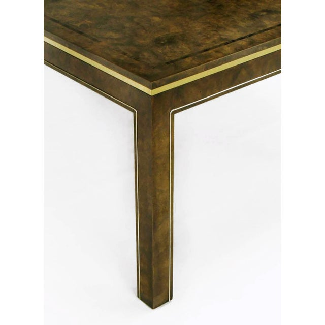 Brass Mastercraft Amboyna Burl and Brass Parsons Leg Dining Table For Sale - Image 7 of 7