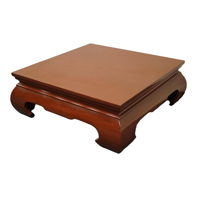 """Contemporary Modern Asian Inspired 42"""" Square Rust Red Accent Coffee Table 14.75"""" High 42.5"""" Wide 42.5"""" Deep We specialize..."""