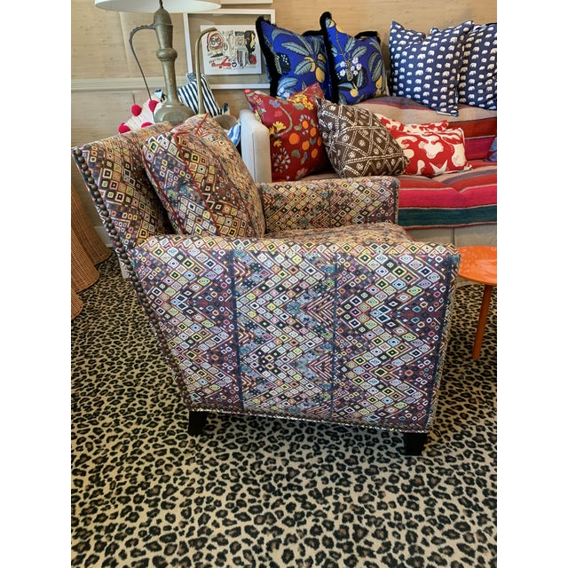 Boho Chic Custom Club Chair in St. Frank Fabric For Sale - Image 3 of 4