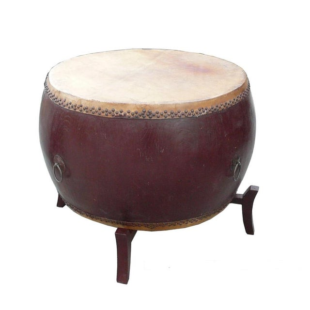 Chinese Brown Lacquer Drum Shape Table Decor For Sale