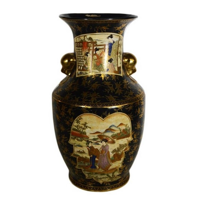 Asian Vintage Hand-Painted Porcelain Vase with Gilded Accents from 20th Century, China For Sale - Image 3 of 10
