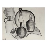 Image of Modernist Still Life With Bottles, Charcoal Drawing For Sale