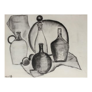 Modernist Still Life With Bottles, Charcoal Drawing