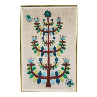 Mid-Century Modern Crewel Embroidered Wall Hanging For Sale