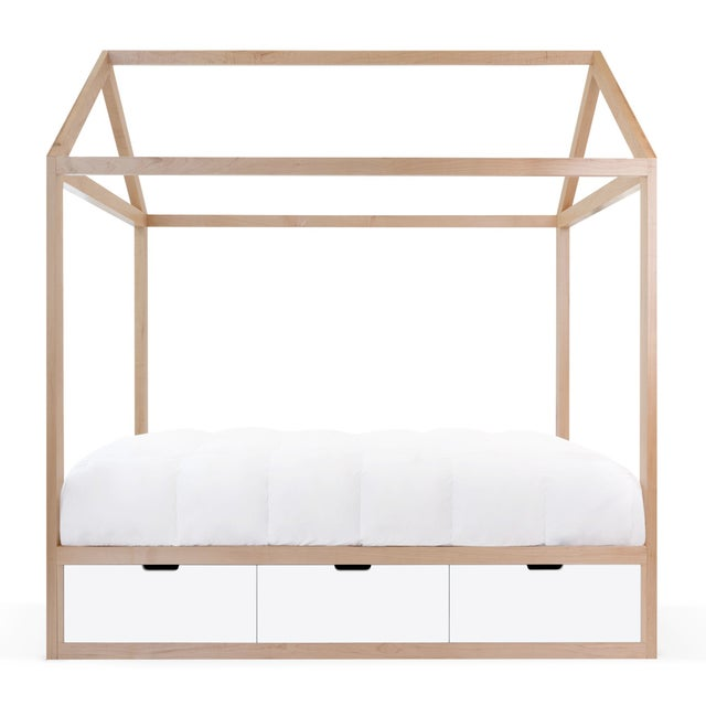 Nico & Yeye Domo Zen Twin Canopy Bed in Maple With White Finish Drawers For Sale - Image 4 of 4