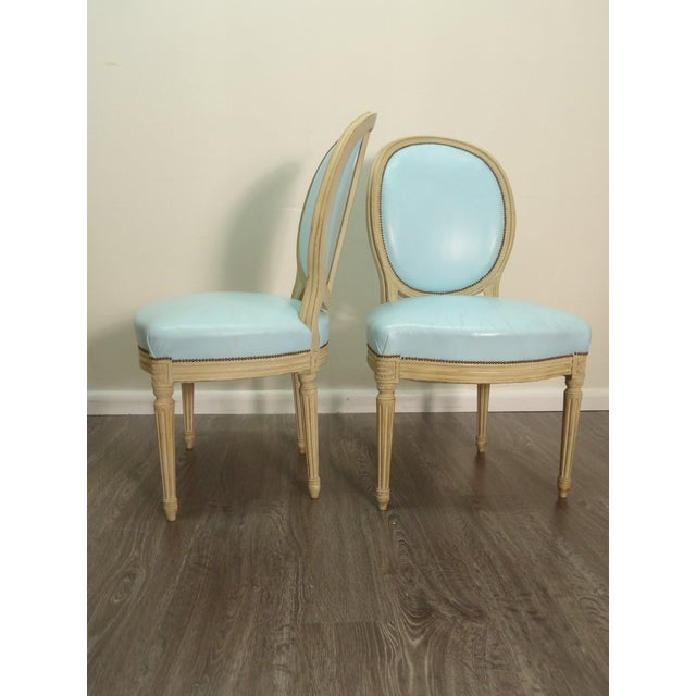 Mid 20th Century Classic Balloon Back Chairs With Tiffany Blue Leather Upholstery - a Pair For Sale - Image 5 of 9