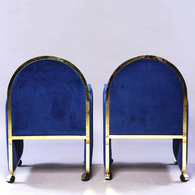 Pair Design Institute America Baughman Style Brass & Blue Velvet Club Chairs For Sale In Detroit - Image 6 of 9