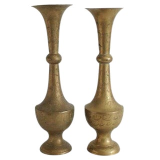 Tall Engraved Brass Vases - a Pair