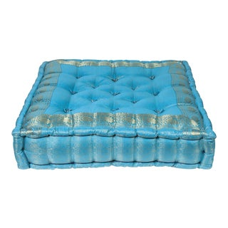 Vintage Mid Century Moroccan Oversized Turquoise Tufted Floor Pillow Cushion For Sale