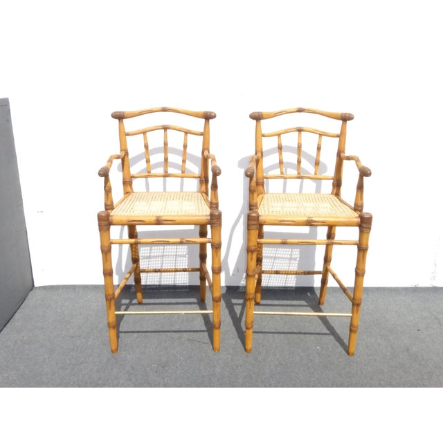 Pair modern tiki bamboo style carved solid wood bar stools. Imagine these barstools in your home!! You will love them...
