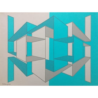 """Gray Teal"" Geometrical Art"