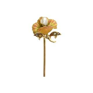 Art Nouveau Enamel & Gold Stick Pin For Sale