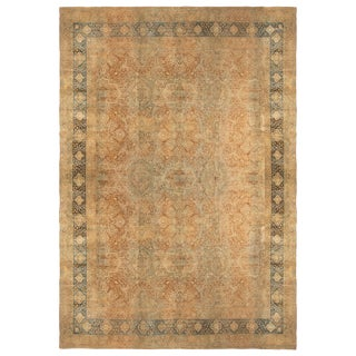 Antique Traditional Kerman Lavar Blue and Brown Rug with All-Over Floral Pattern For Sale