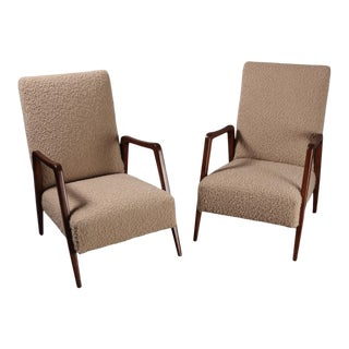 1950s French Open Arm Lounge Chairs- a Pair For Sale
