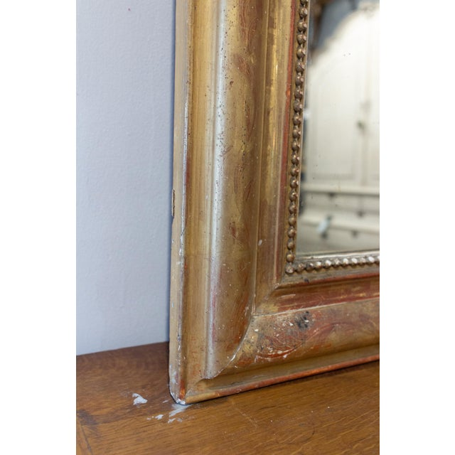 Antique French Gilt Louis Philippe Mirror With Floral Decoration For Sale - Image 10 of 13