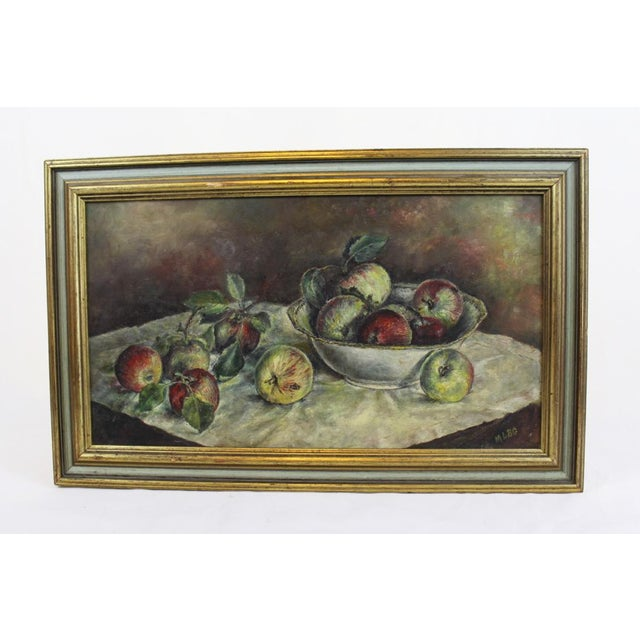 Canvas 1930s Vintage Still Life With Apples Painting For Sale - Image 7 of 7